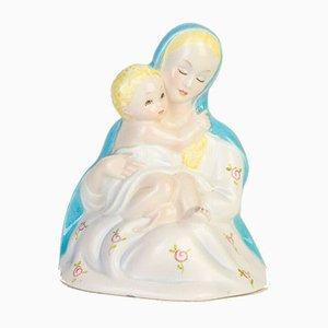 Scultura vintage raffigurante una Madonna con bambino in ceramica di Lenci, anni '50