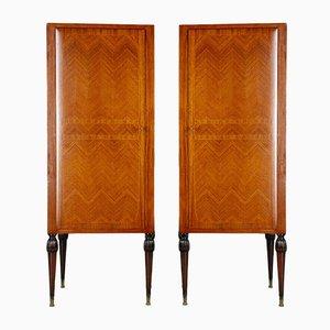 Vintage Inlaid Wood Bedroom Cabinets, 1950s, Set of 2
