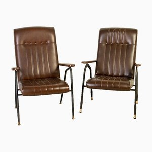Vintage Metal and Leather Chairs, 1970s, Set of 2