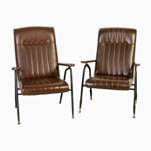 Vintage Stühle aus Metall & Leder, 1970er, 2er Set
