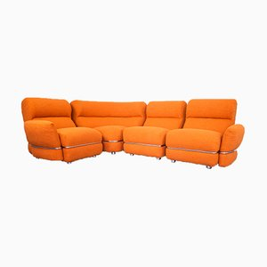Vintage Modular Sofa in Earthenware-Colored Boucle, 1970s, Set of 4