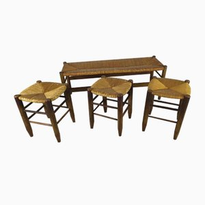 Rustic Style Bench and Stools by Charlotte Perriand, Set of 4