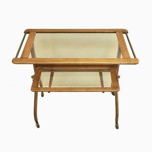 Carrello o mobile da TV in legno ed ottone, anni '50