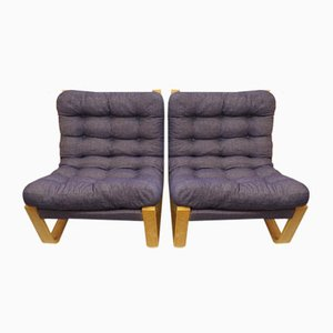 Scandinavian Armchairs in Curved Wood and Fabric, Set of 2