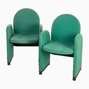 Vintage Green Fabric Chairs from Gufram, 1980s, Set of 2