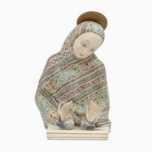 Keramik Madonna Dell'amore Skulptur von Helen König Scavini für Fabbrica Lenci