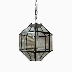 Lampada a lanterna in vetro smerigliato e piombo, Toscana, anni '50