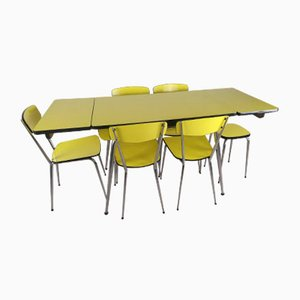 Yellow Formica Table and Chairs, Set of 7