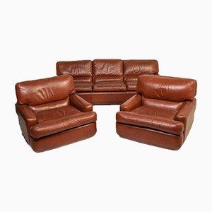 Sofá Albion vintage y sillas de cuero de Saporiti Italia, años 80. Juego de 3