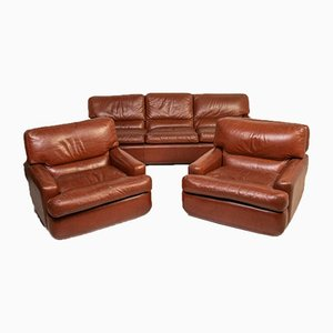Vintage Albion Sofa and Chairs in Leather from Saporiti Italia, 1980s, Set of 3
