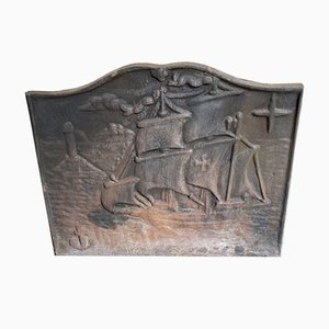 Cast Iron Fireback with Boat Design