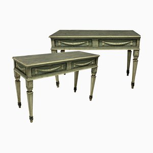 Antique Swedish Painted Console Tables, Set of 2