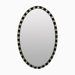 Spiegel mit Rahmen aus Irischem Spiegelglas und Schwarzem Glas, 1970er