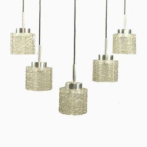 Vintage Glass Tube Pendant MCM Lamps from Doria Leuchten, 1960s, Set of 5