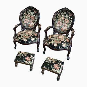 Louis Philippe Cabriolet Armchairs with Footrest, Set of 4