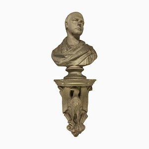 Classical Plaster Library Bust on Bracket, Set of 2