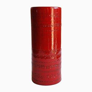 Rote Zylinderförmige Keramikvase von Aldo Londi für Bitossi, Italien