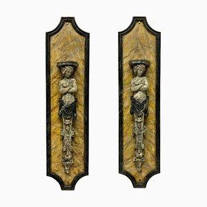 Staffe grandi in simil marmo, set di 2