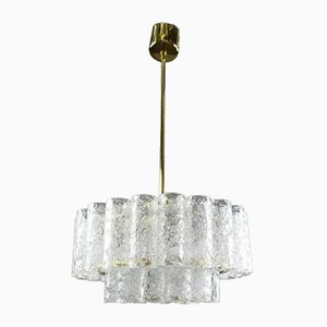 Pyramid-Shaped Glass Tube MCM Chandelier from Doria Leuchten