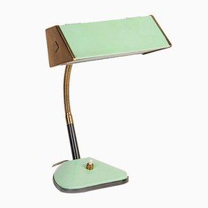 Vintage Modern Table Lamp in Brass & Green Metal