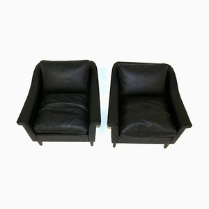 Scandinavian Leather Armchairs from Lani, Sweden, 1960, Set of 2