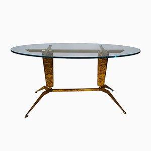 Tavolino da caffè in ottone, Italia, anni '50