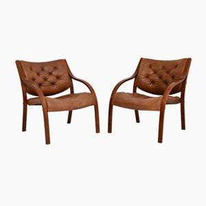 Skandinavische Vintage Bugholz & Leder Armlehnstühle, 2er Set
