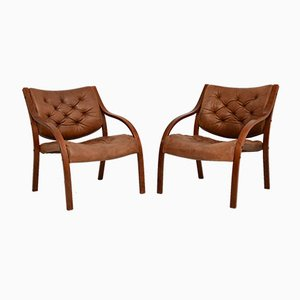 Vintage Scandinavian Bentwood & Leather Armchairs, Set of 2
