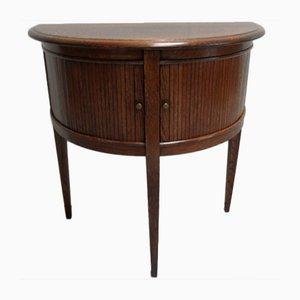 Vintage Half-Moon Oak Side Table