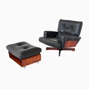 Rosewood Model 401 Lounge Chair & Ottoman Set by Menilio Taro for Cinova, Italy, 1964, Set of 2