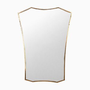Vintage Model Brass Frame Wall Mirror, 1950