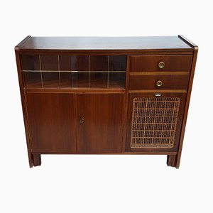 Mid-Century Walnut Berlin Bar Cabinet with Patterned Glass Sliding Doors, Bar Compartment with Flap & Wicker Filling from T-Furniture, 1953