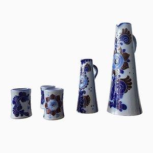 Salt-Glazed Stoneware Drinking Jug Set with Mug from Westerwald Stoneware, Set of 5