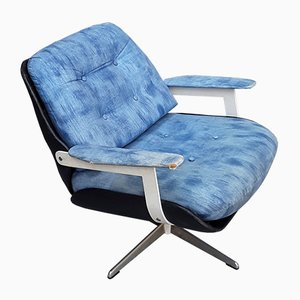 Vintage Black Leatherette & Blue Fabric Rotating Bucket Seat with Chromed Steel Frame, 1960s