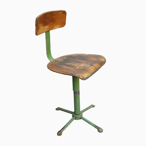 Mid-Century Green Painted Iron Frame & Beech Plywood Adjustable Workshop Swivel Chair, 1950s