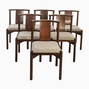 Vintage Modern Chairs in Wood and Gray Fabric, 1960s, Set of 6