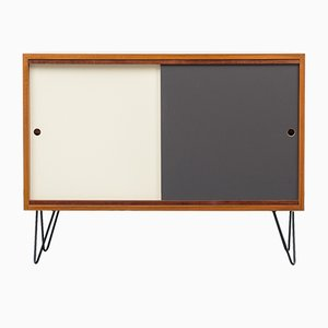 Walnut Sideboard with Colored Reversible Doors & Hairpin Legs, 1960s