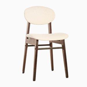 Vintage Chairs in Veneer Wood & White Fabric, 1950s, Set of 4