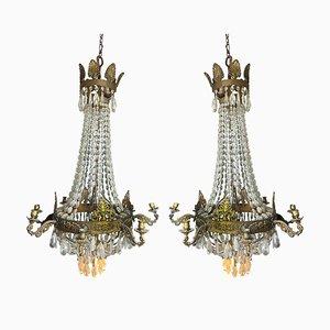 Französische Empire Kronleuchter aus Kristall und vergoldeter Bronze, 2er Set