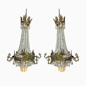 French Empire Crystal and Gilt Bronze Chandeliers, Set of 2