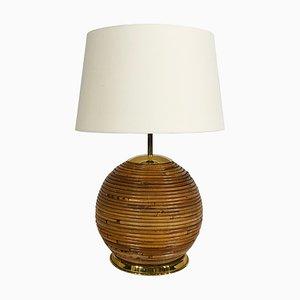Lampe de Bureau Bohémien Mid-Century en Bambou dans le Style de Gabriella Crespi, Italie