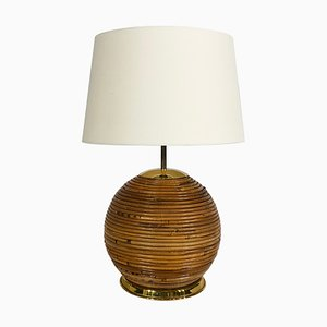 Mid-Century Bohemian Bamboo Table Lamp in the Style of Gabriella Crespi, Italy