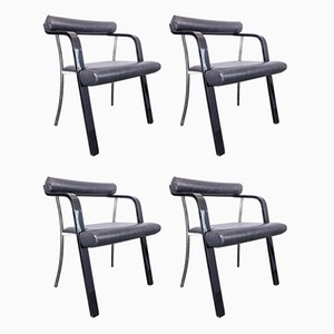 Chairs in Lacquered Wood, Metal & Black Leatherette, 1970s, Set of 4