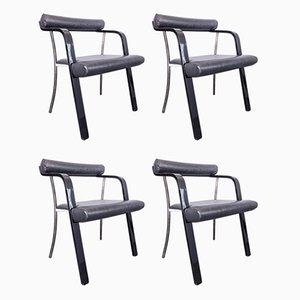 Sedie in legno laccato, metallo e similpelle nera, anni '70, set di 4