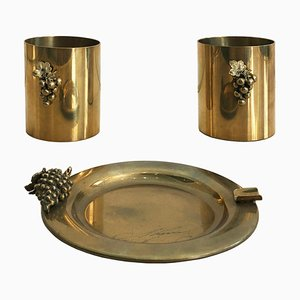 Vintage Brass Grapes Desk Set in the Style of Maison Charles, France, 1970s, Set of 3