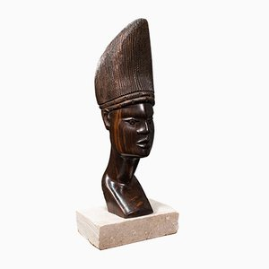 Antique African Ornamental Hand-Carved Ebony Female Bust, 1900s