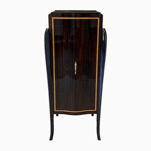 French Art Deco Macassar & Brass Bar Cabinet