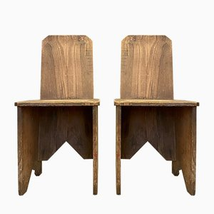 Popular Art Wooden Chairs, 1920s, Set of 2