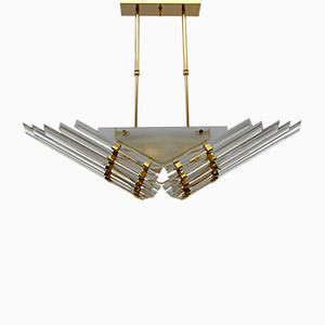 Modern Venini Style Trihedron Ceiling Lamp in Brass and Murano Glass, 1980s