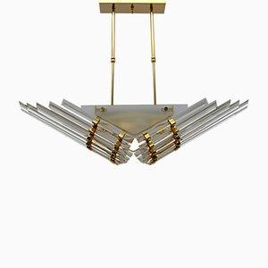 Moderne Venezianische Triehedel Deckenlampe aus Messing und Murano Glas, 1980er